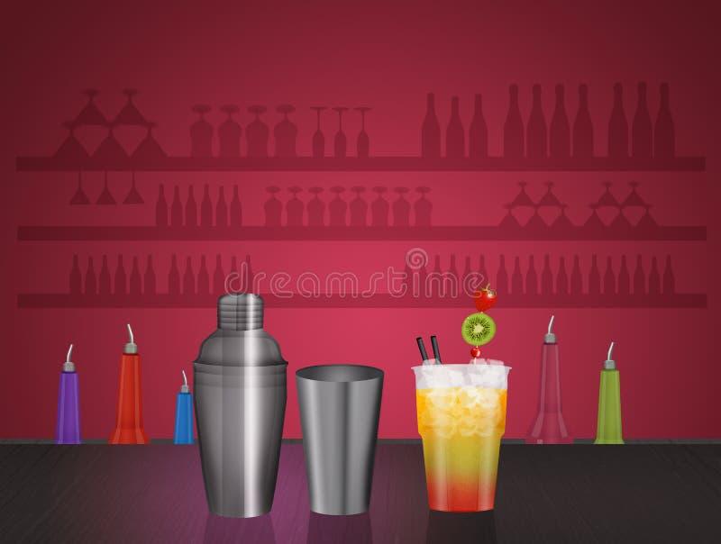 Scossa e cocktail del barista royalty illustrazione gratis