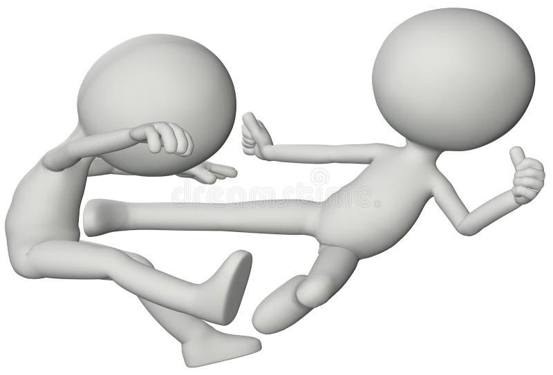 Scossa marziale di volo di karatè di lotta della gente 3D illustrazione di stock