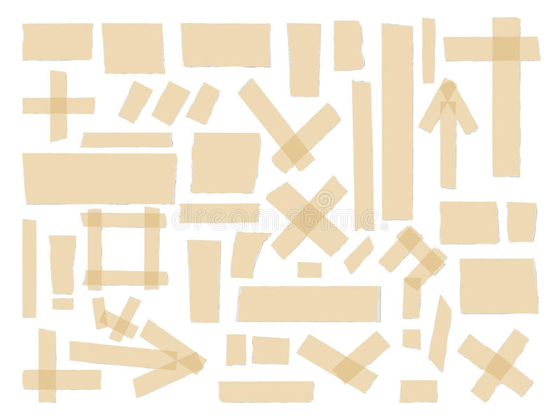 Scotch, adhesive tape collection, different size pieces isolated on white background . Vector set vector illustration