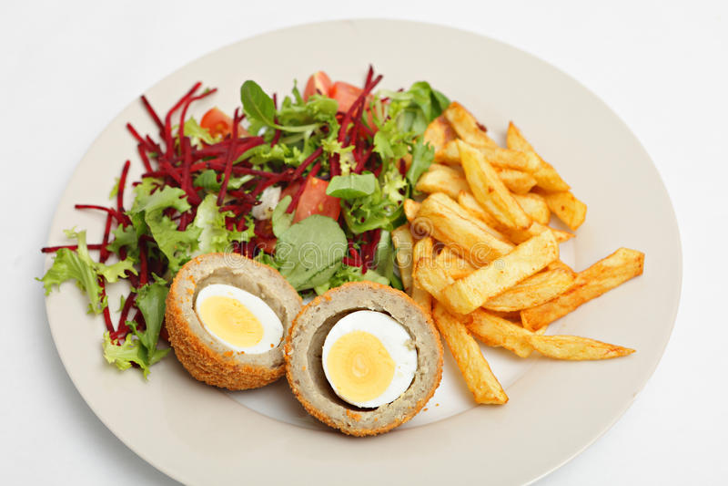 Scotch egg salad closeup