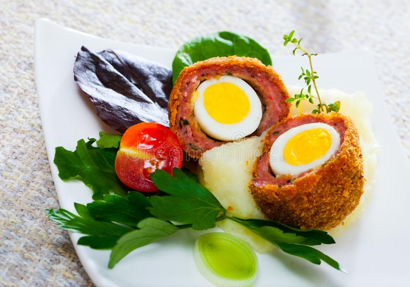 Scotch eggs from quail eggs royalty free stock images