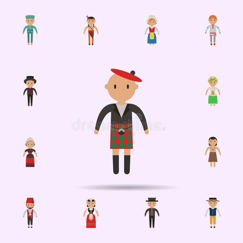 Scotch, man cartoon icon. Universal set of people around the world for website design and development, app development. On color background royalty free stock photo
