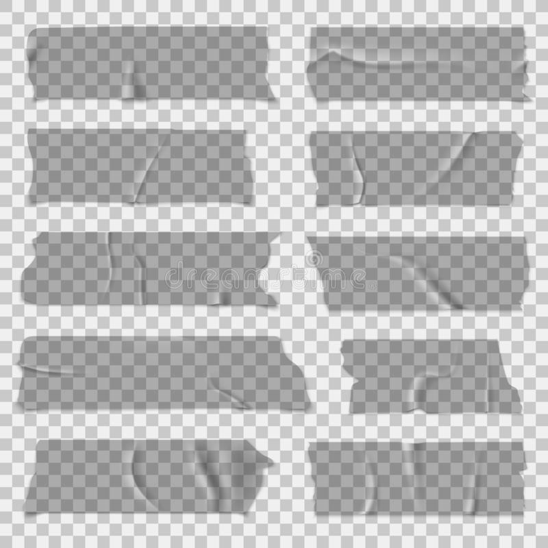 Scotch tape. Transparent adhesive tapes, sticky pieces. Isolated vector set vector illustration