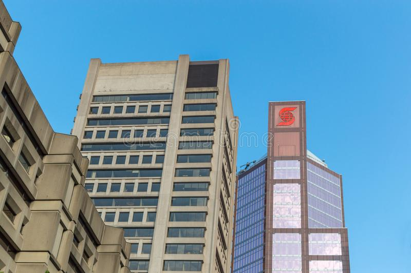Scotia skyscraper in Montreal downtown, Canada stock photos