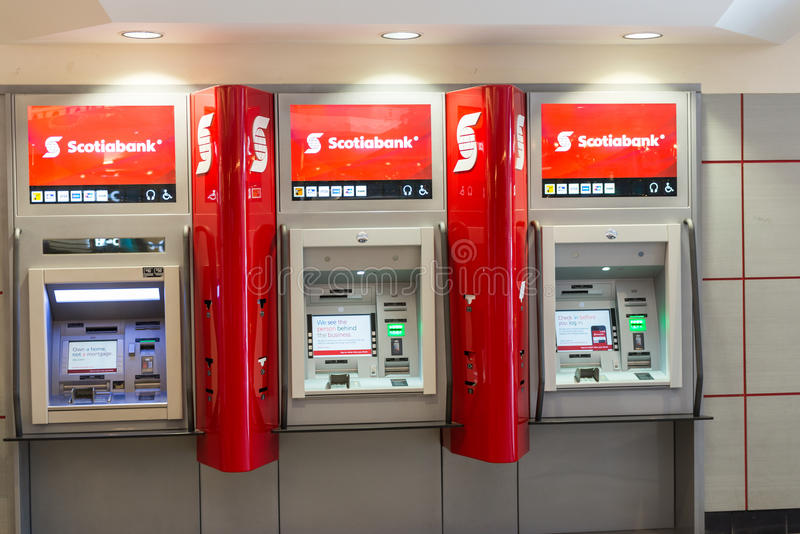 Scotiabank automated tellers in a mall editorial image for Cajeros automaticos red