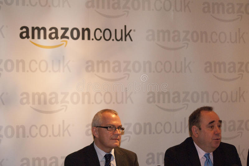 Scotland Amazon Deal. UK SCOTLAND Edinburgh --13 Jan 2011 -- First Minister Alex Salmond right and the Vice President of European Operations at Amazon, Allan royalty free stock images