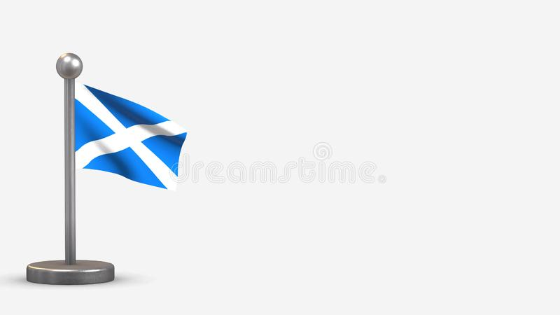 Scotland 3D waving flag illustration on tiny flagpole. Scotland 3D waving flag illustration on a tiny metal flagpole. Isolated on white background with space on stock illustration