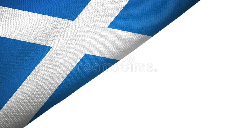 Scotland flag left side with blank copy space. Scotland flag isolated on white background placed on the left side with blank copy space royalty free illustration
