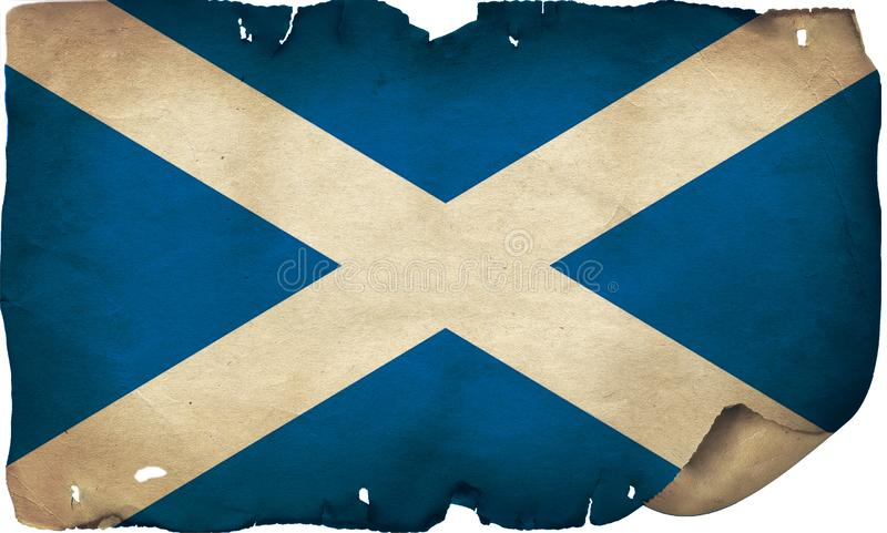 Scotland Flag On Old Paper. A grunge Scotland flag on old torn paper stock photos