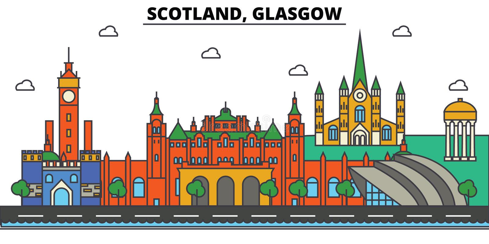 Scotland, Glasgow. City skyline architecture . Editable royalty free illustration