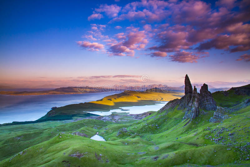 Scotland. Isle of Skye Old Man of Storr Loch Leathan Sound of Raasay Scotland country side view Highlands Scotland summer holiday vacations