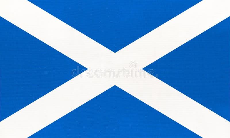 Scotland national fabric flag, textile background. Symbol of United kingdom international world country. England european official sign stock photo