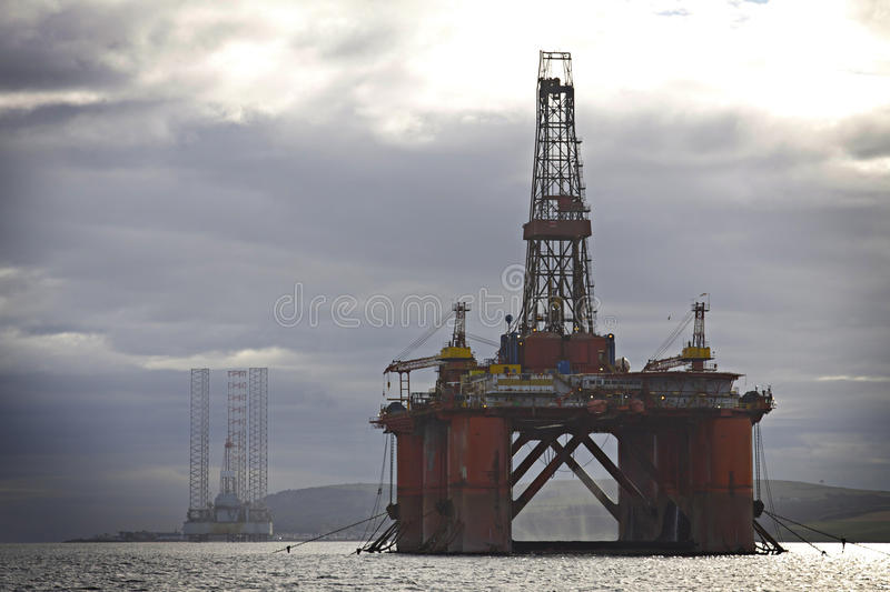 Scotland: Oil rig. Off shore oil rig anchored on a fjord near to Invergordon in Scotland stock images