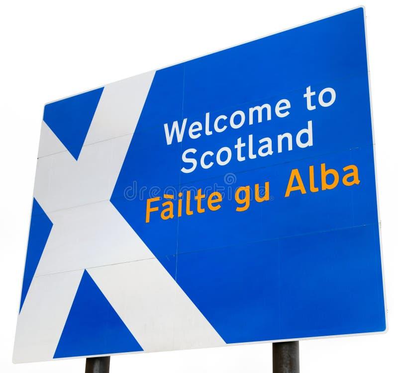 scotland tecken att välkomna royaltyfria foton
