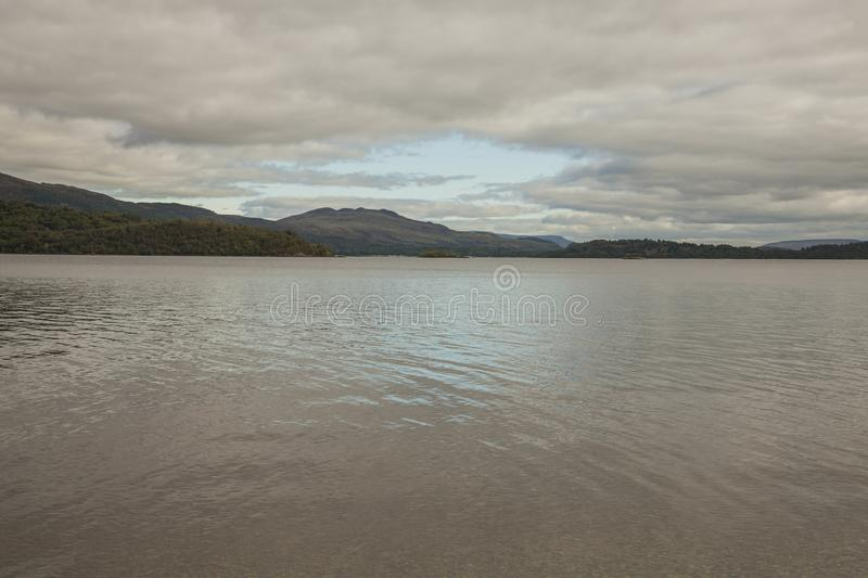 Scotland, the UK - Loch Ness lake on a cloudy day. stock image