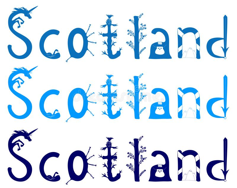 Scotland vector lettering royalty free illustration