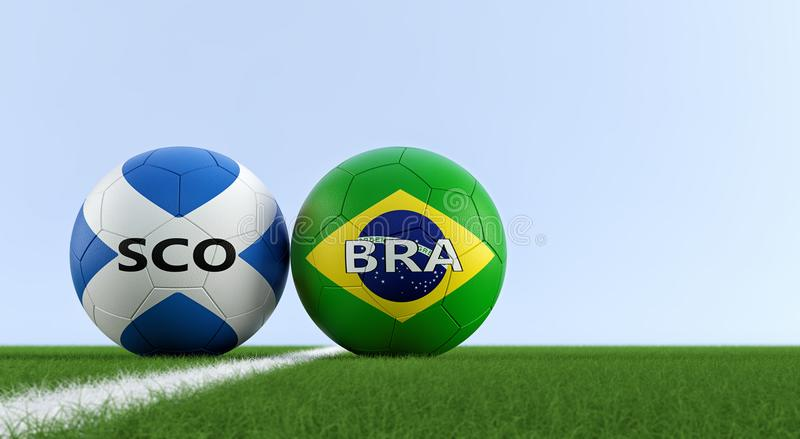 Scotland vs. Brazil Soccer Match - Soccer balls in Scotland and Brazil national colors on a soccer field. Copy space on the right side - 3D Rendering vector illustration