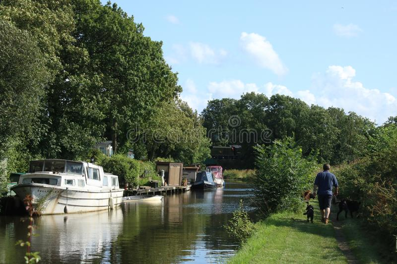 Lancaster canal at Capernwray with steam train stock photography