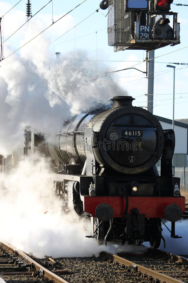 Scots Guardsman steam locomotive on test run stock photography