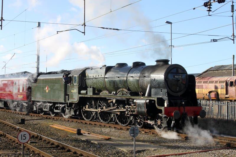 Scots Guardsman steam train at Carnforth royalty free stock image