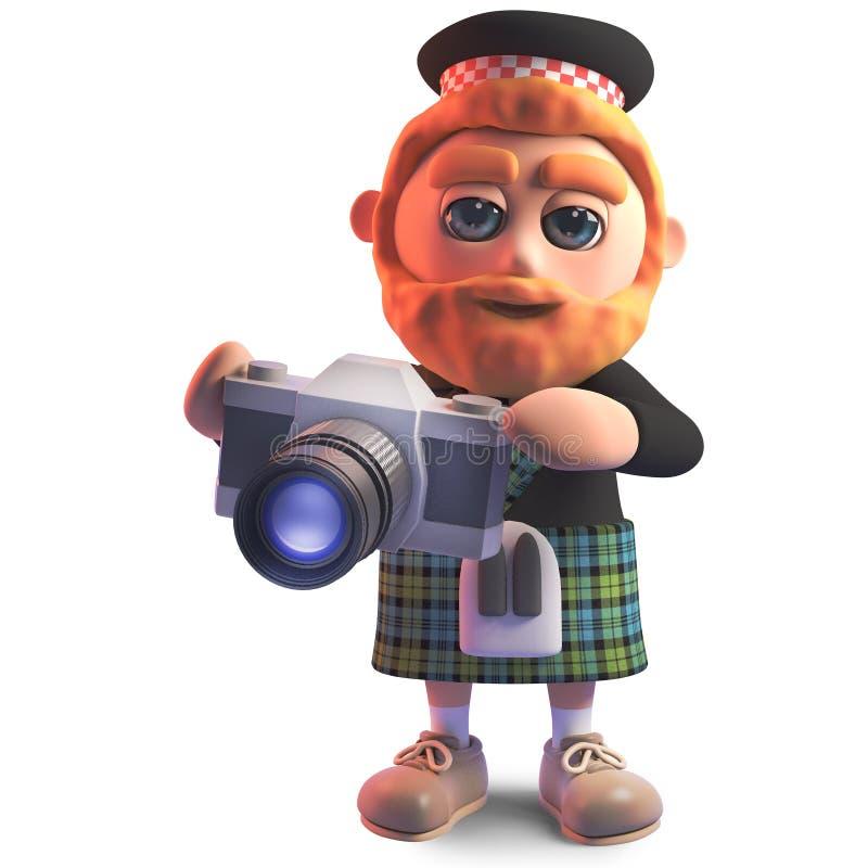 Scots man för fotografiskt sinnad tecknad film med en kamera, illustration 3d royaltyfri illustrationer