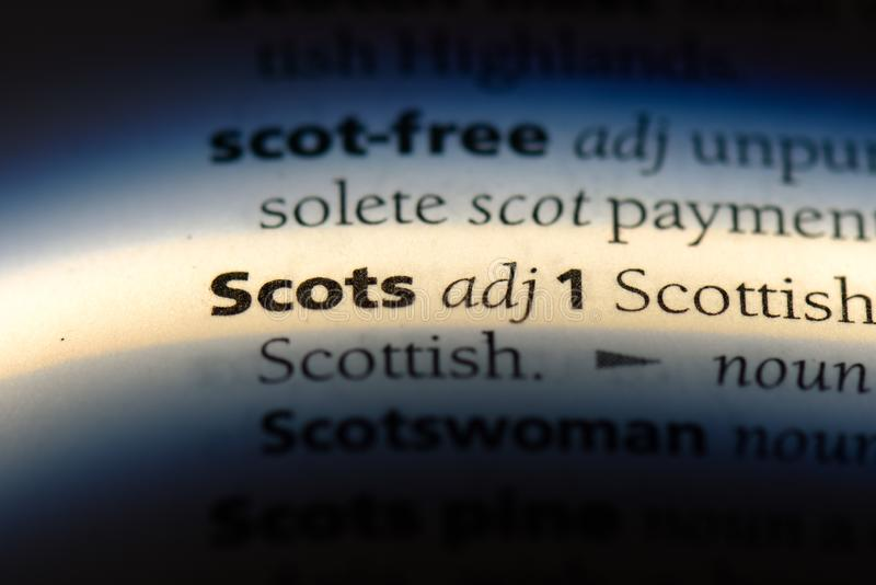 Scots. Word in a dictionary.  concept royalty free stock photo