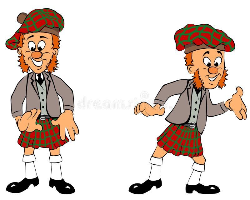 Scotsman de sorriso em duas poses ilustração royalty free