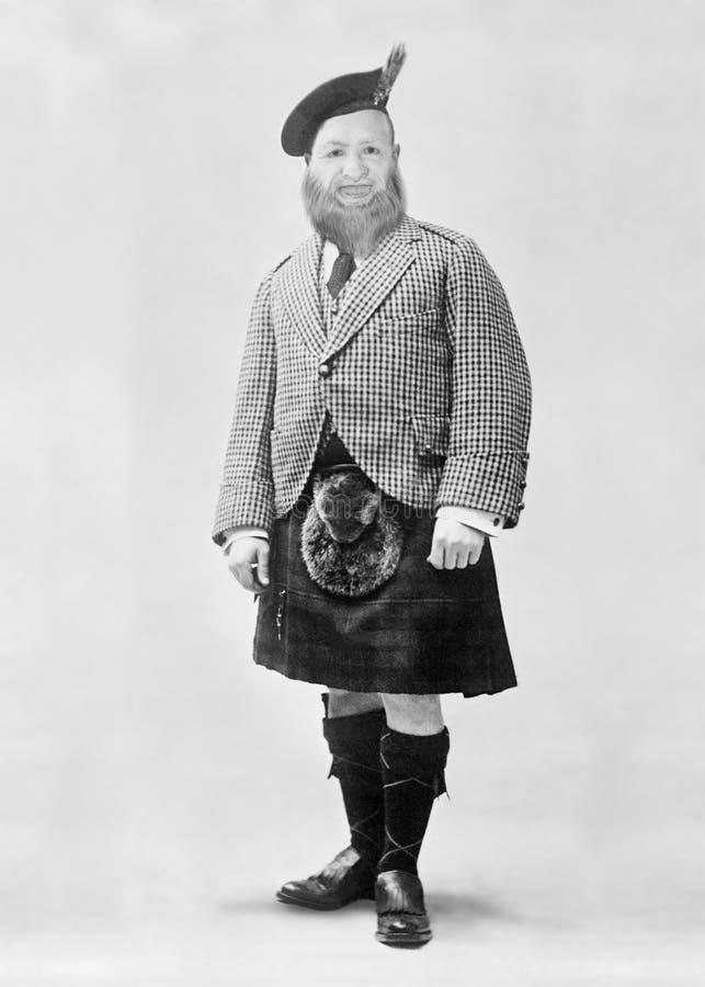 Scotsman divertido del vintage, escocés, falda escocesa, Escocia, cultura tradicional imagen de archivo