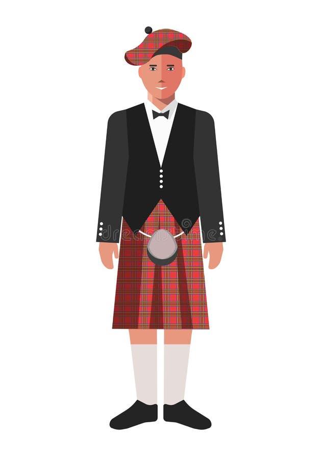 Scotsman na saia vermelha do kilt e no revestimento preto ilustração royalty free