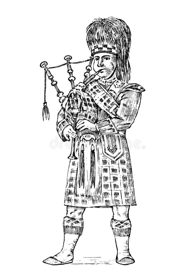 Scotsman no traje nacional Vestido escocês caledoniano tradicional Britânico norte ou Sawney O vintage gravou a mão tirada ilustração stock