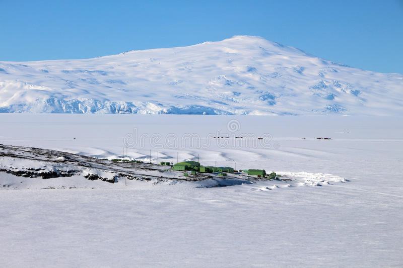 Scott Base, Antarctica. Aerial view of Scott Base, Antarctica. This is the main New Zealand base in Antarctica and is located on Ross Island royalty free stock photo