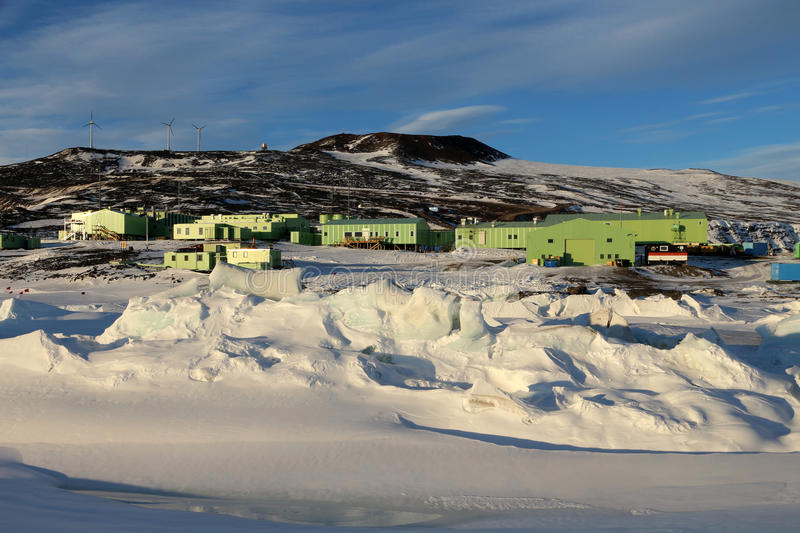 Scott Base, Ross Island, Antarctica. Scott Base, the main New Zealand base in Antarctica. Pressure ridges in the sea ice can be see in the foreground royalty free stock photos