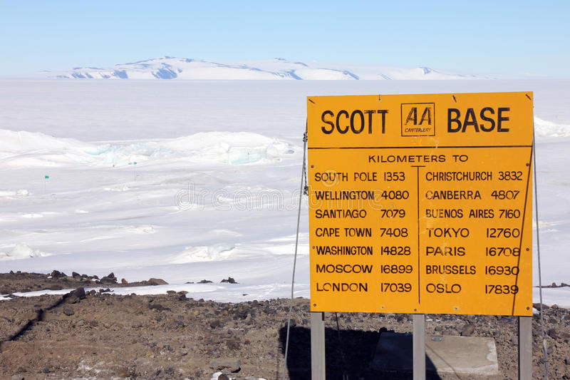 Scott Base, Ross Island, Antarctica. Sign at Scott Base, the main New Zealand base in Antarctica. Pressure ridges in the sea ice can be see in the foreground stock photo
