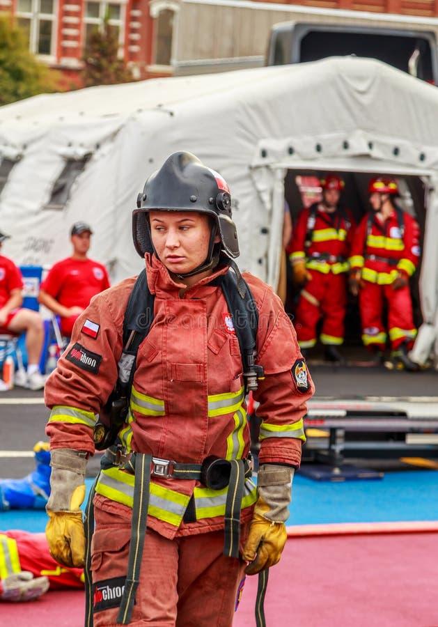 Scott Firefighter World Combat Challenge XXIV besviken konkurrent royaltyfri fotografi