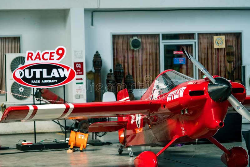 Scott Holmess`s plane no.9 `Outlaw` aircraft model Cassutt III-M in Air Race 1 World Cup Thailand 2017 at U-Tapao Naval Air Base. RAYONG, THAILAND-NOVEMBER 18 stock image