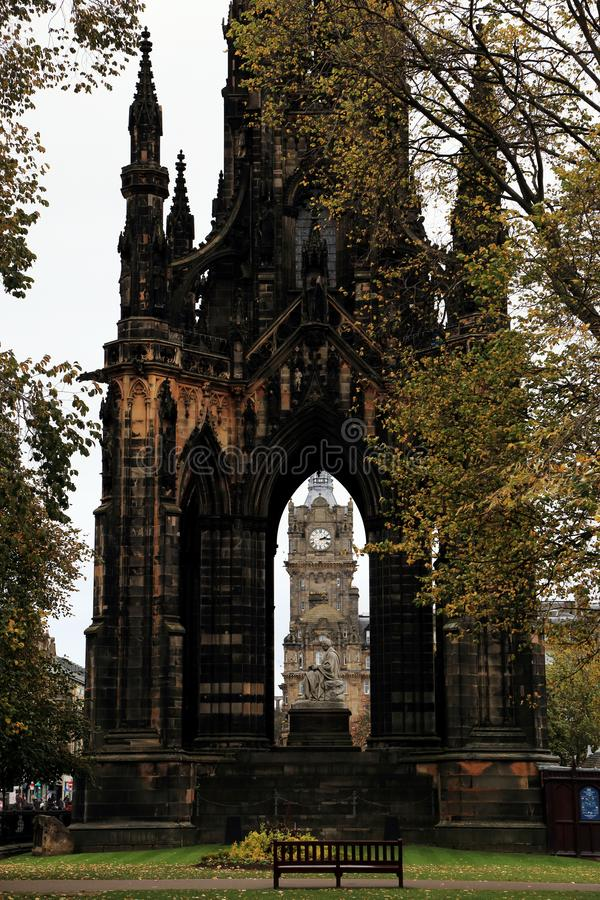 Scott Monument on Edinburgh`s Princess Street, a Victorian Gothic monument to Scottish author Sir Walter Scott with clocktower at. The center stock image