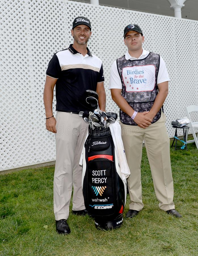 Scott Piercy bij 2015 Barclays pro-Am hield in Plainfield Country Club in Edison, New Jersey stock afbeelding