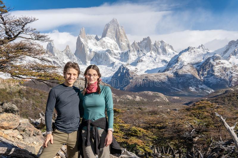 Scott and Sylvie at View of Mt. Fitz Roy royalty free stock photos