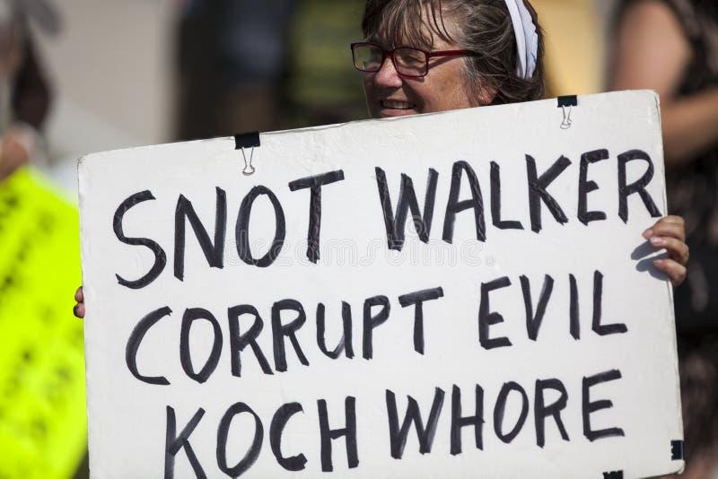 Scott Walker Protester stock afbeelding