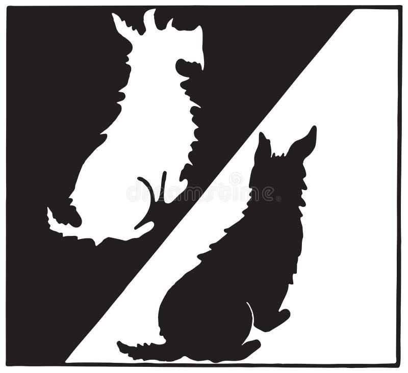 Scottie Dogs in bianco e nero illustrazione di stock