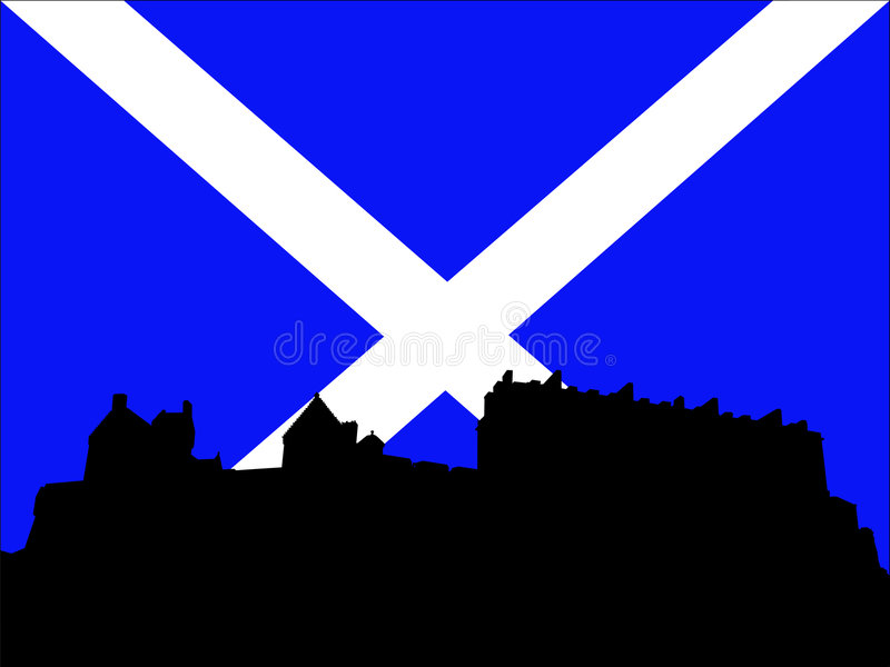 scottish флага edinburgh замока иллюстрация вектора