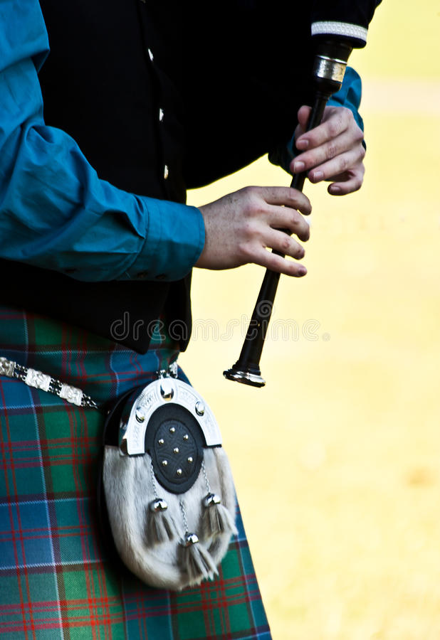Scottish bagpipe. Detail of a bagpipe exibition during Highland Games stock photos