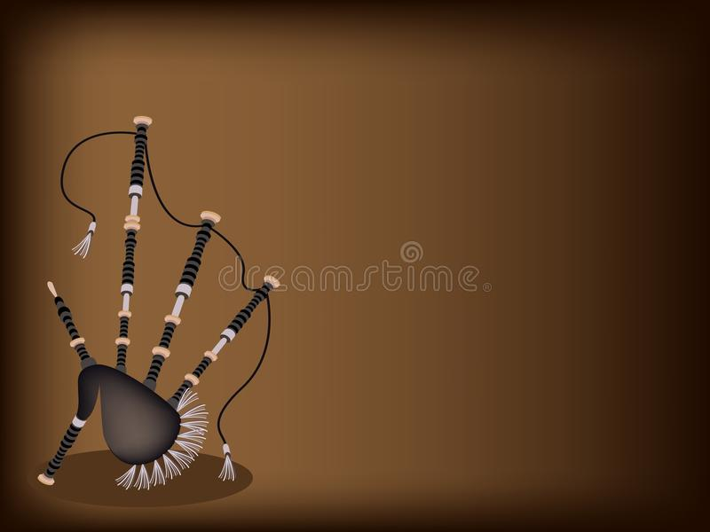 A Scottish Bagpipe on Dark Brown Background. Music Instrument, An Illustration of Beautiful Scottish Bagpipe on Beautiful Dark Brown Background with Copy Space stock photos