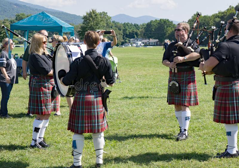 Scottish Bagpipe Group – 2018 Greenhill Highland Games, Salem, VA. Salem, VA – August 25th; Scottish Bagpipe Group playing at the 2018 Greenhill stock photo
