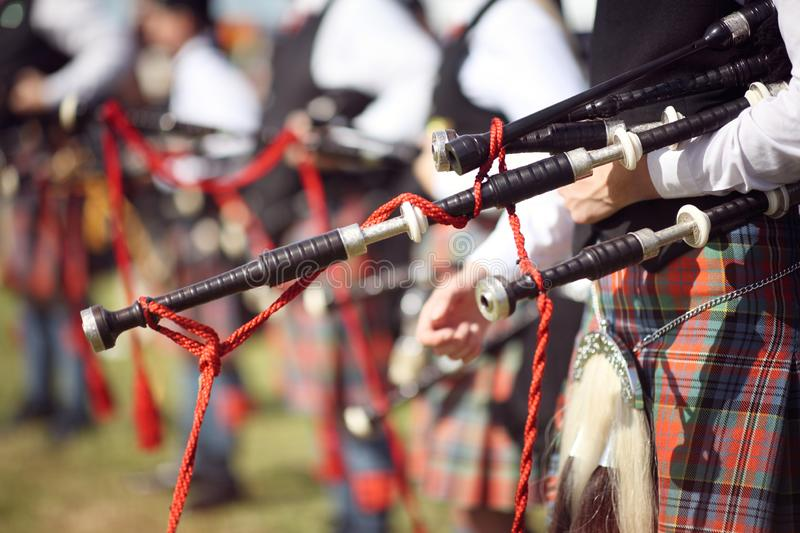 Scottish bagpipe marching band. Close up on bagpipes stock photos