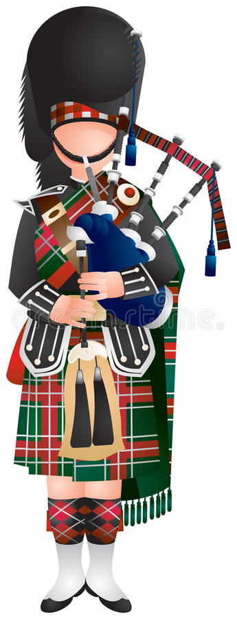 Scottish Bagpiper. Soldier in uniform, in plaid and kilt with the Bagpipe, Royal Edinburgh Military Tattoo, European travel, traditional musical instrument