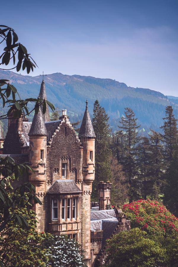 A Scottish Baronial Style Stately Home in the Highlands. Turrets on a Stately Home in the Scottish Highlands stock photos