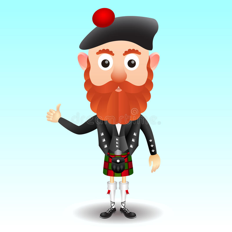 Scottish character in kilt stock illustration