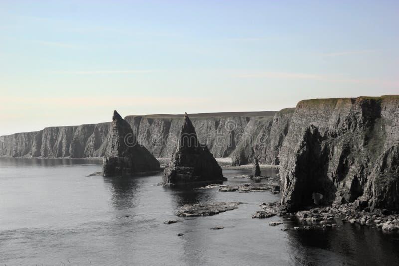 Scottish coastal stacks and cliffs stock image