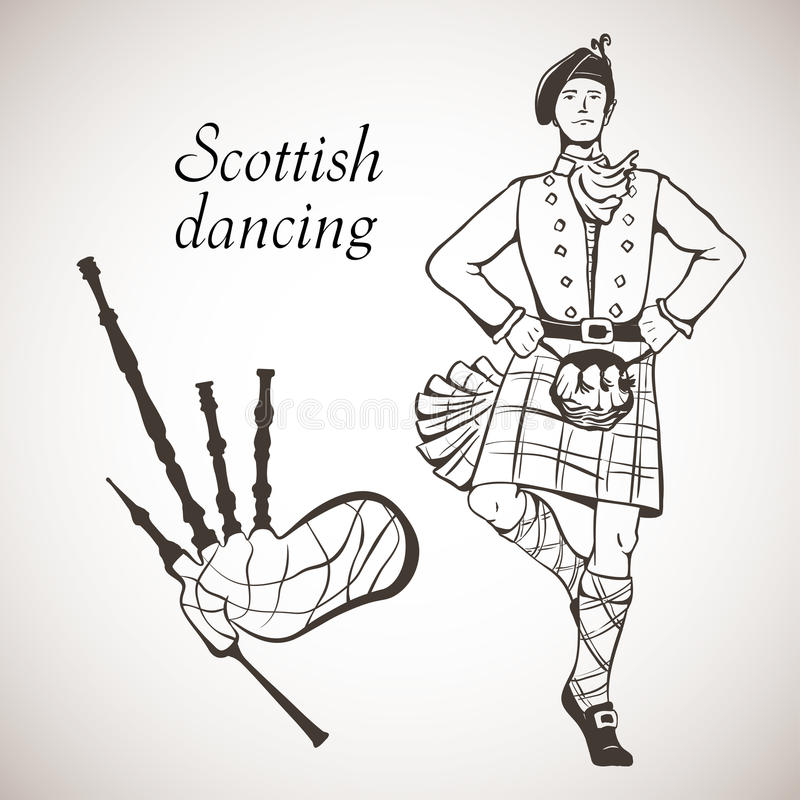 Scottish dancer and Bagpipes. Sketch of Scottish dancer and Bagpipes on white board vector illustration